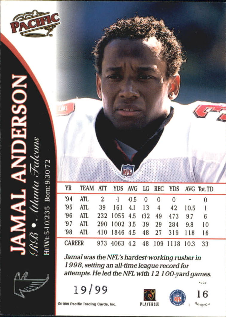 1999 Pacific Copper #16 Jamal Anderson back image