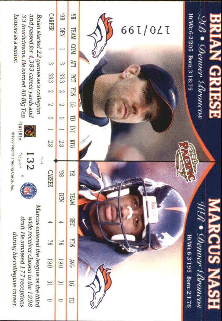 1999 Pacific Gold #132 Brian Griese/M.Nash back image