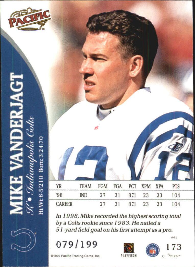 1999 Pacific Gold #173 Mike Vanderjagt back image