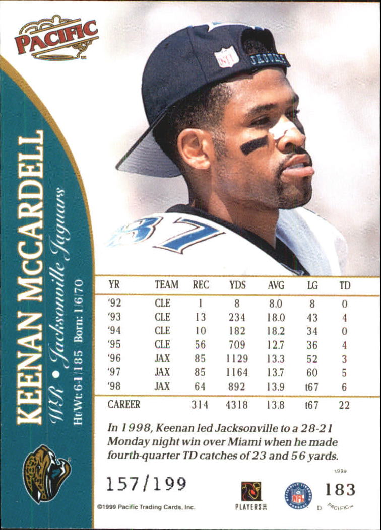1999 Pacific Gold #183 Keenan McCardell back image
