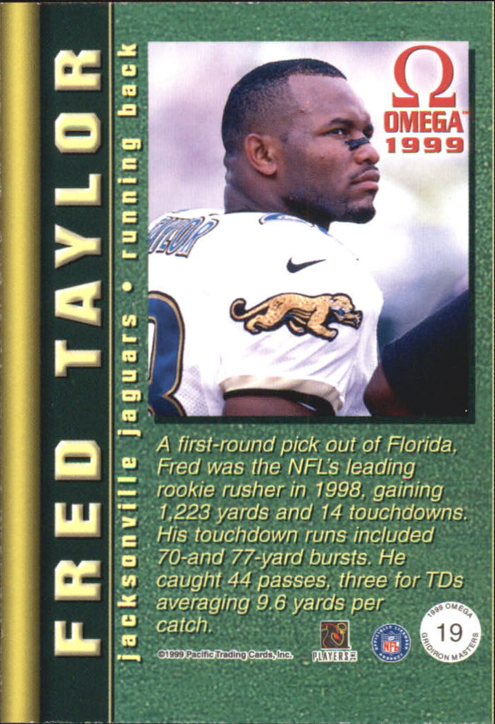 1999 Pacific Omega Gridiron Masters #19 Fred Taylor back image