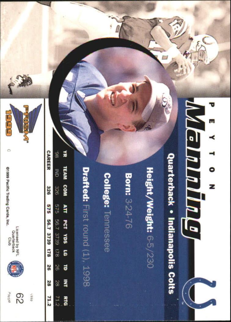 1999 Pacific Prisms #62 Peyton Manning back image