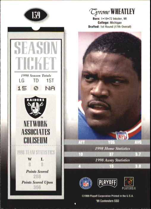 1999 Playoff Contenders SSD #139 Tyrone Wheatley back image