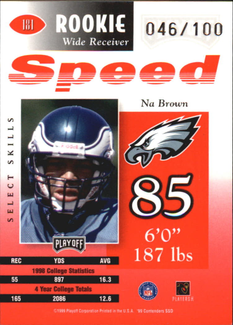 1999 Playoff Contenders SSD Speed Red #181 Na Brown back image