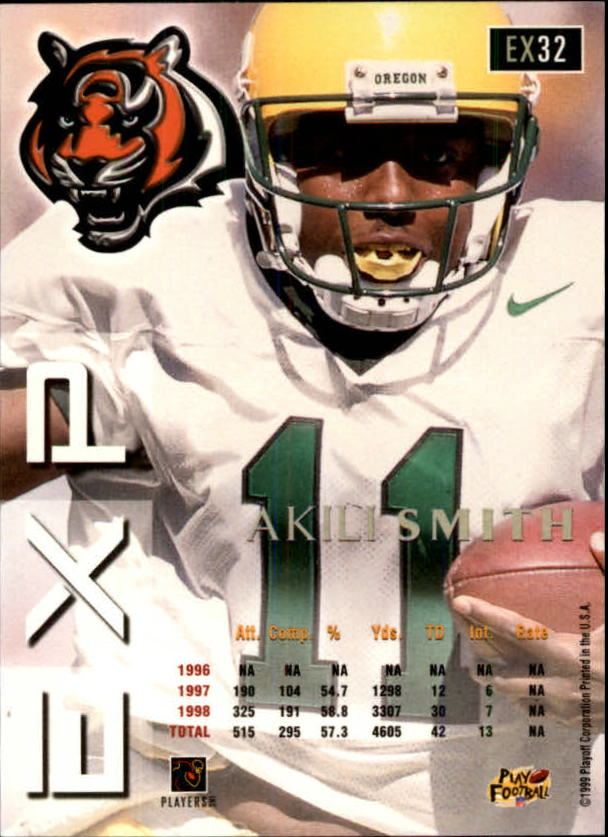 1999 Playoff Prestige EXP #32 Akili Smith RC back image