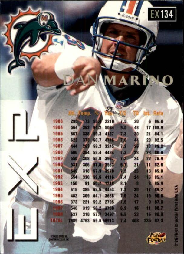 1999 Playoff Prestige EXP #134 Dan Marino back image