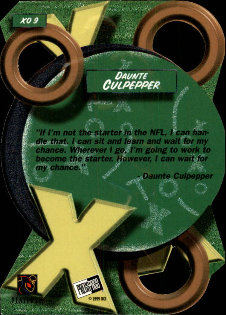 1999 Press Pass X's and O's #XO9 Daunte Culpepper back image