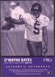 1999 SAGE Autographs Red #A4 D'Wayne Bates/999 back image