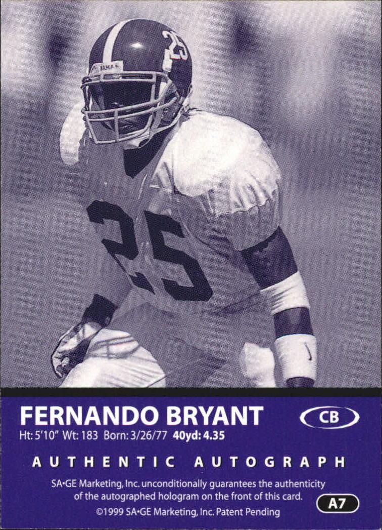 1999 SAGE Autographs Red #A7 Fernando Bryant/999 back image