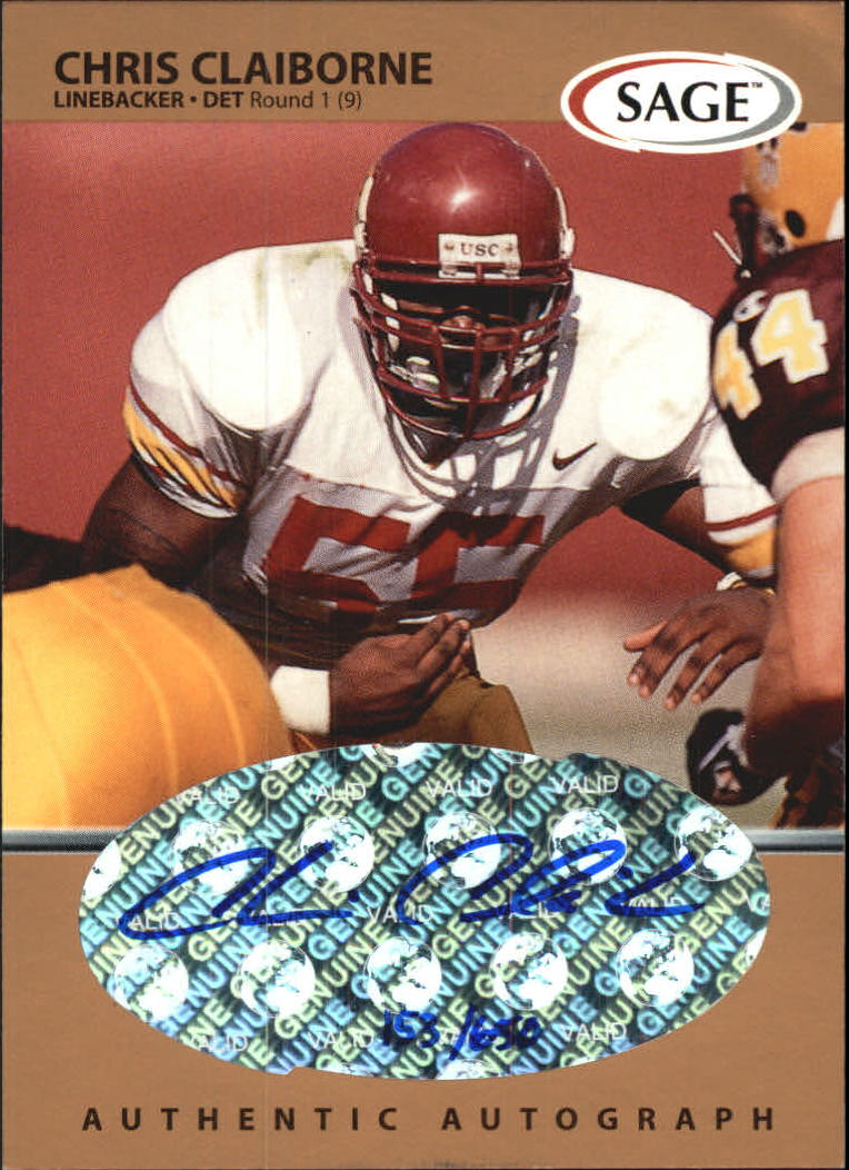 1999 SAGE Autographs Bronze #A9 Chris Claiborne/650