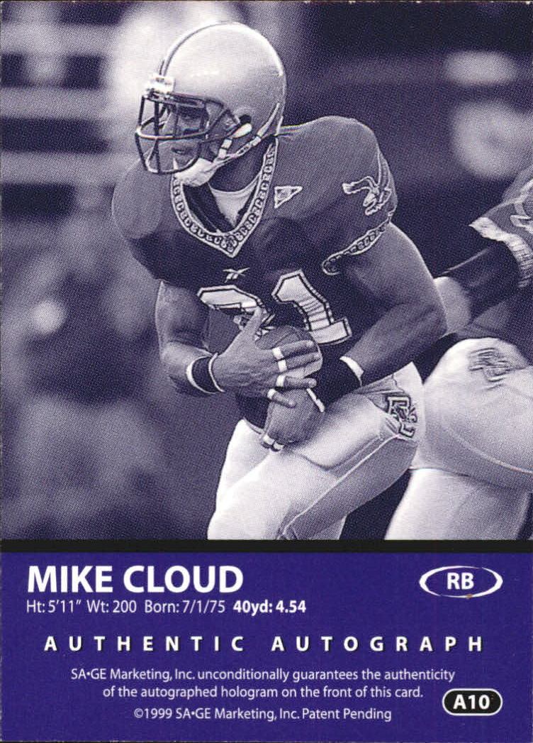 1999 SAGE Autographs Bronze #A10 Mike Cloud/280 back image