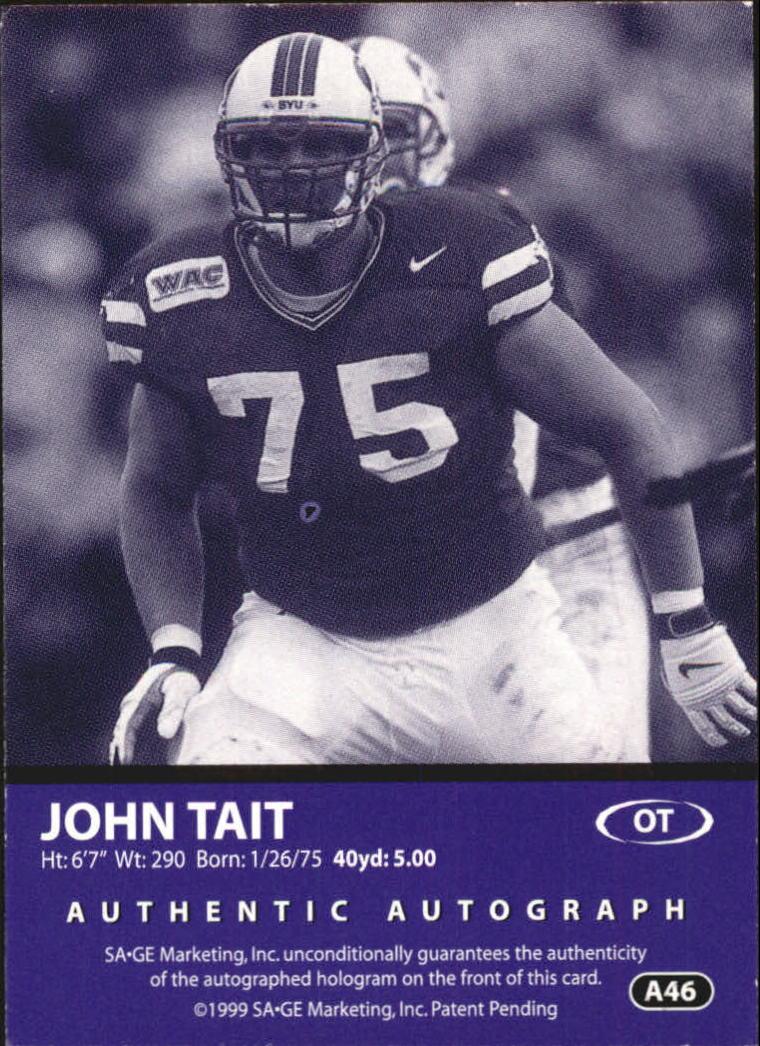 1999 SAGE Autographs Bronze #A46 John Tait/650 back image