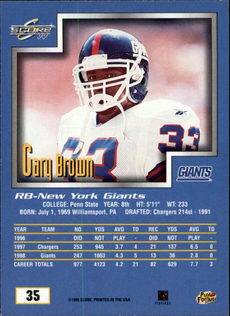 1999 Score #35 Gary Brown back image