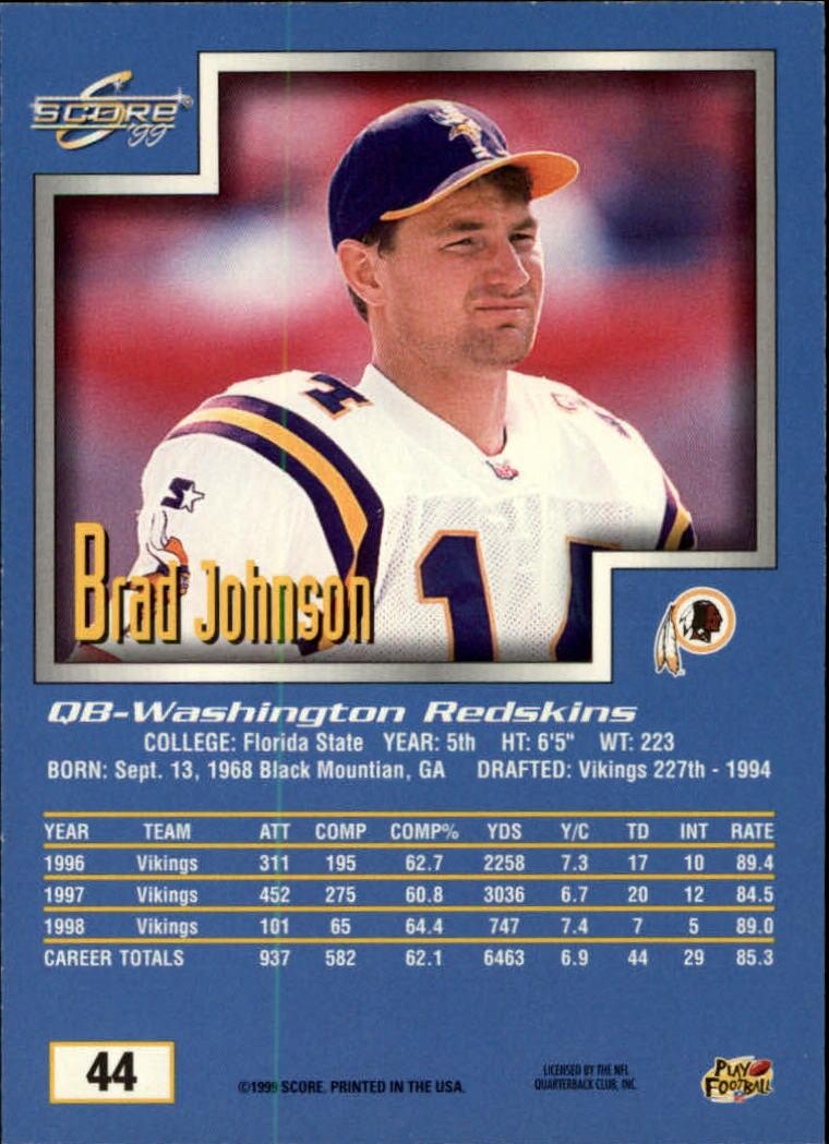 1999 Score #44 Brad Johnson back image