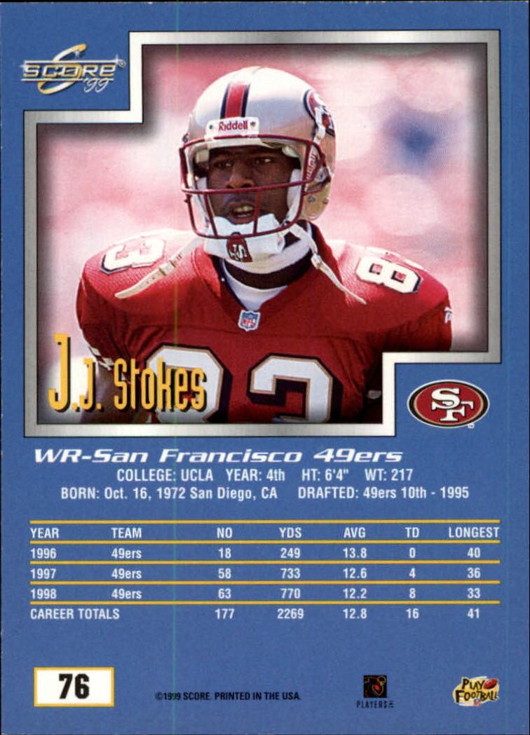 1999 Score #76 J.J. Stokes back image