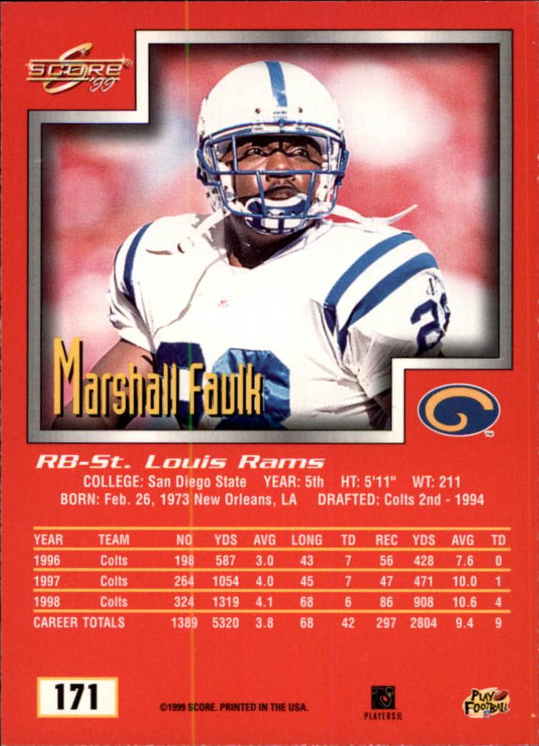 1999 Score #171 Marshall Faulk back image