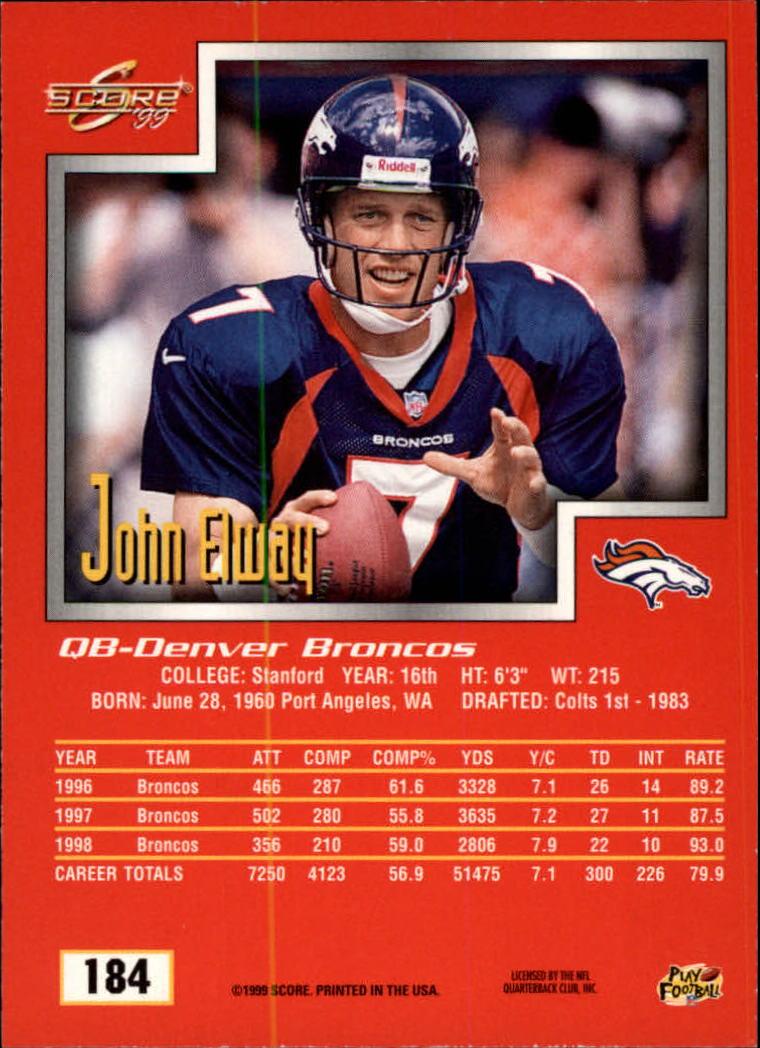 1999 Score #184 John Elway back image