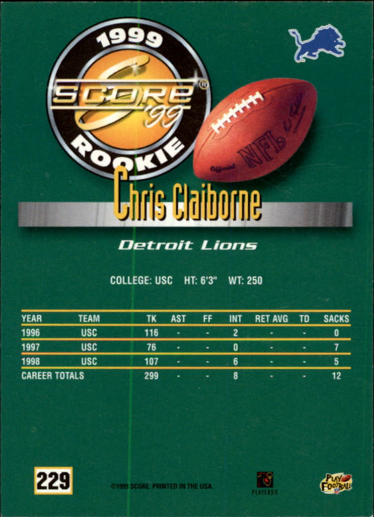 1999 Score #229 Chris Claiborne RC back image