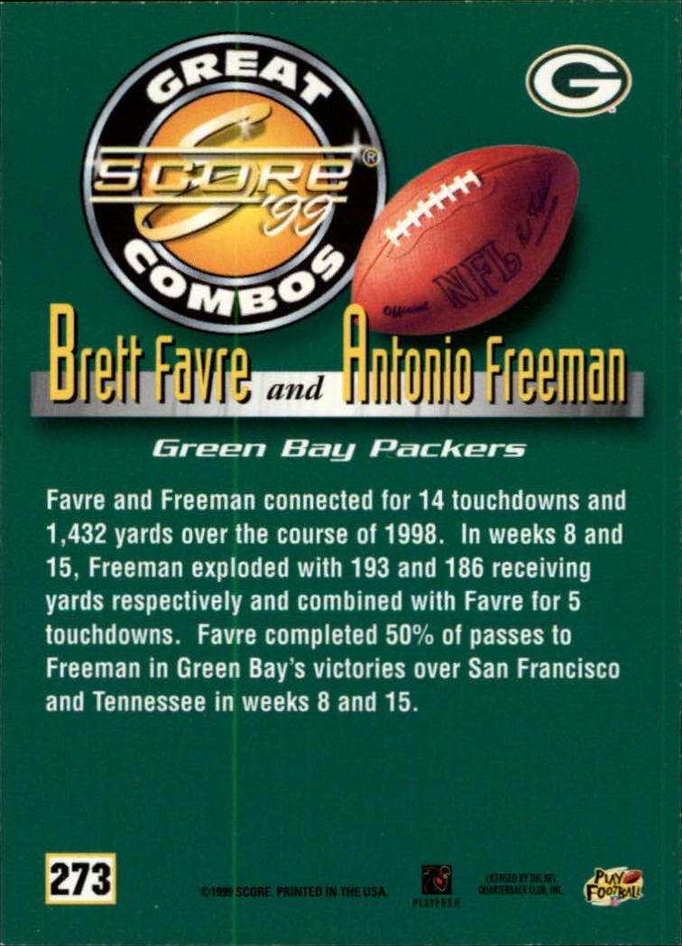 1999 Score #273 B.Favre/A.Freeman GC back image