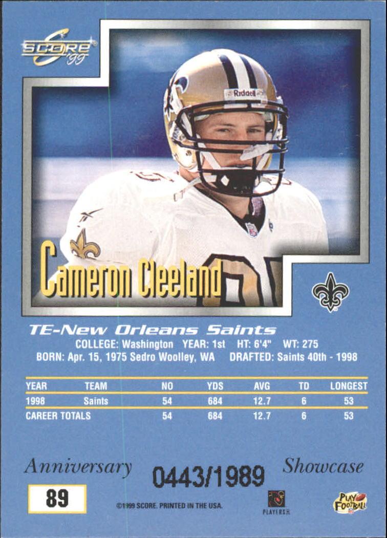 1999 Score Showcase #89 Cam Cleeland back image