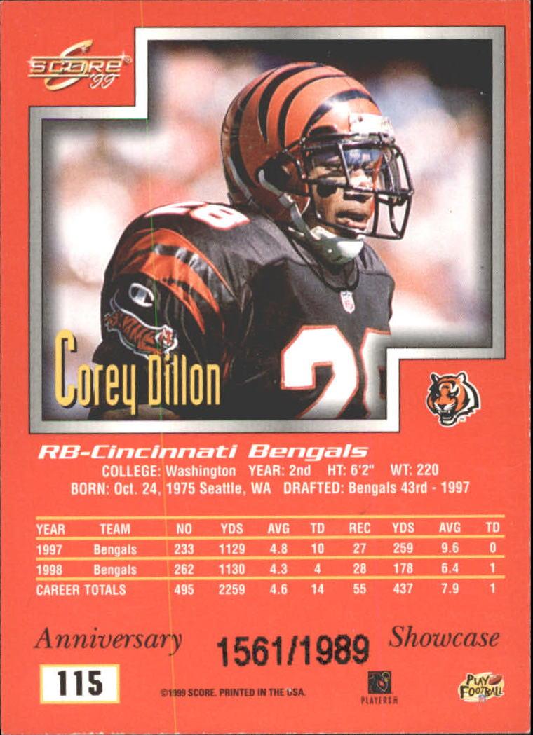 1999 Score Showcase #115 Corey Dillon back image