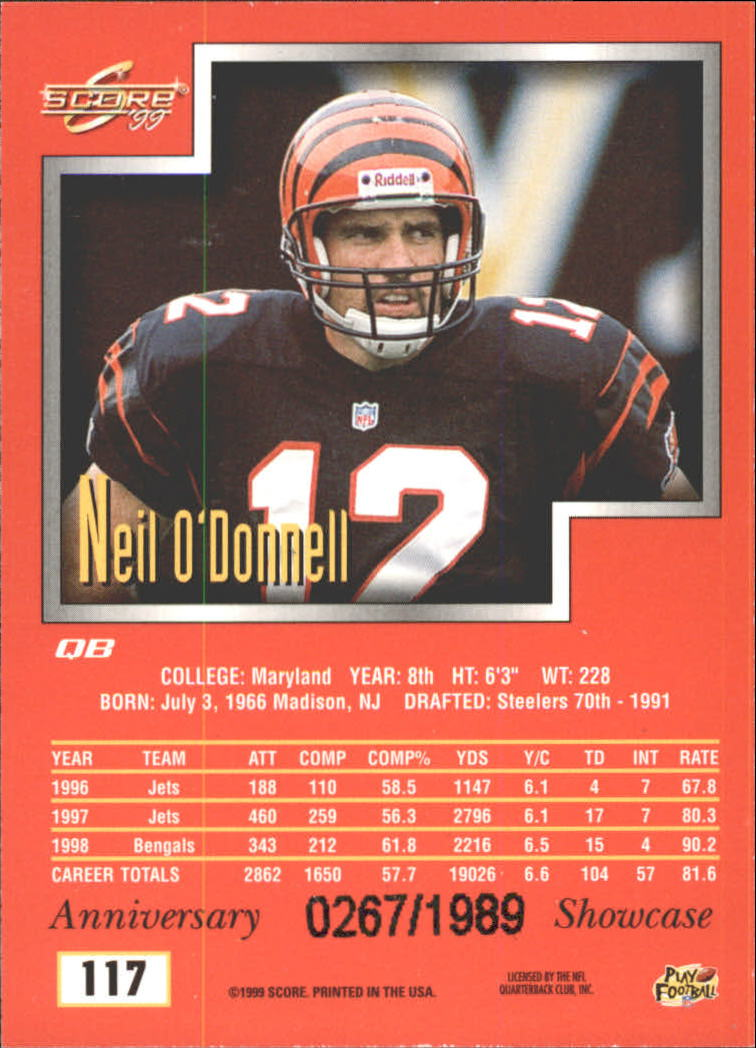 1999 Score Showcase #117 Neil O'Donnell back image