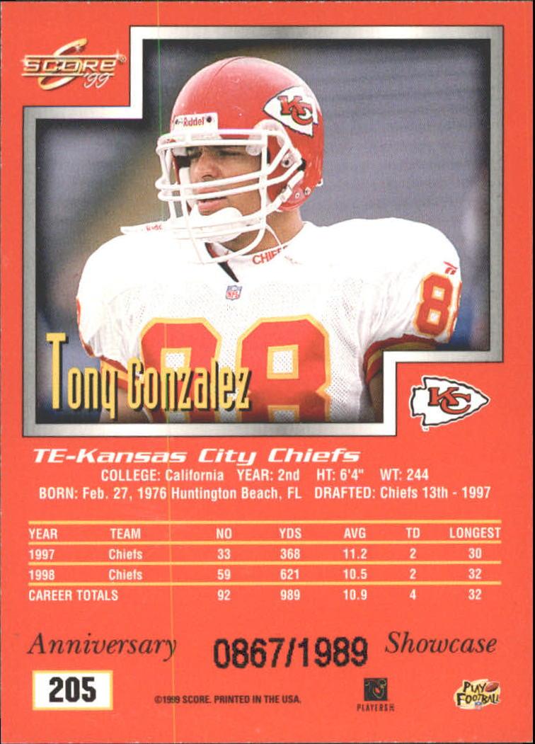 1999 Score Showcase #205 Tony Gonzalez back image