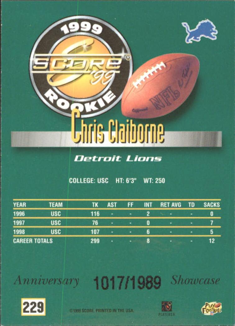 1999 Score Showcase #229 Chris Claiborne back image