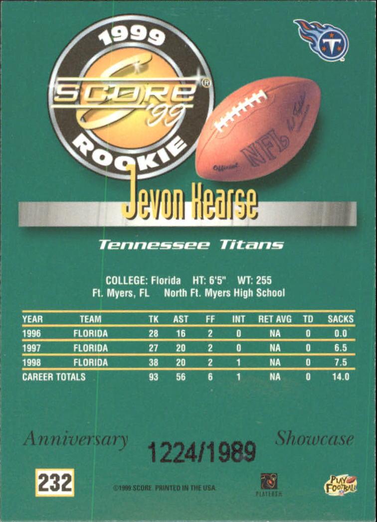 1999 Score Showcase #232 Jevon Kearse back image