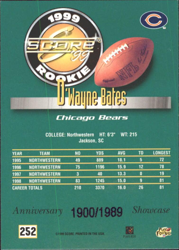 1999 Score Showcase #252 D'Wayne Bates back image