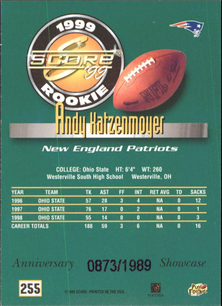 1999 Score Showcase #255 Andy Katzenmoyer back image