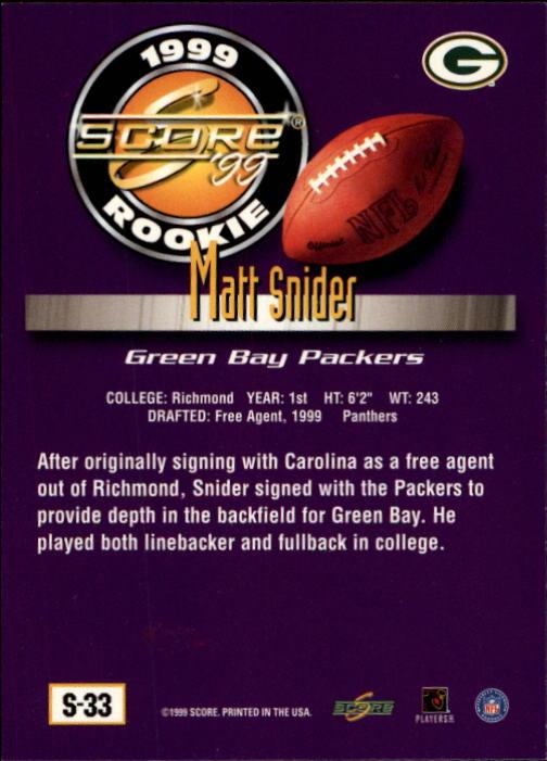 1999 Score Supplemental #S33 Matt Snider RC back image