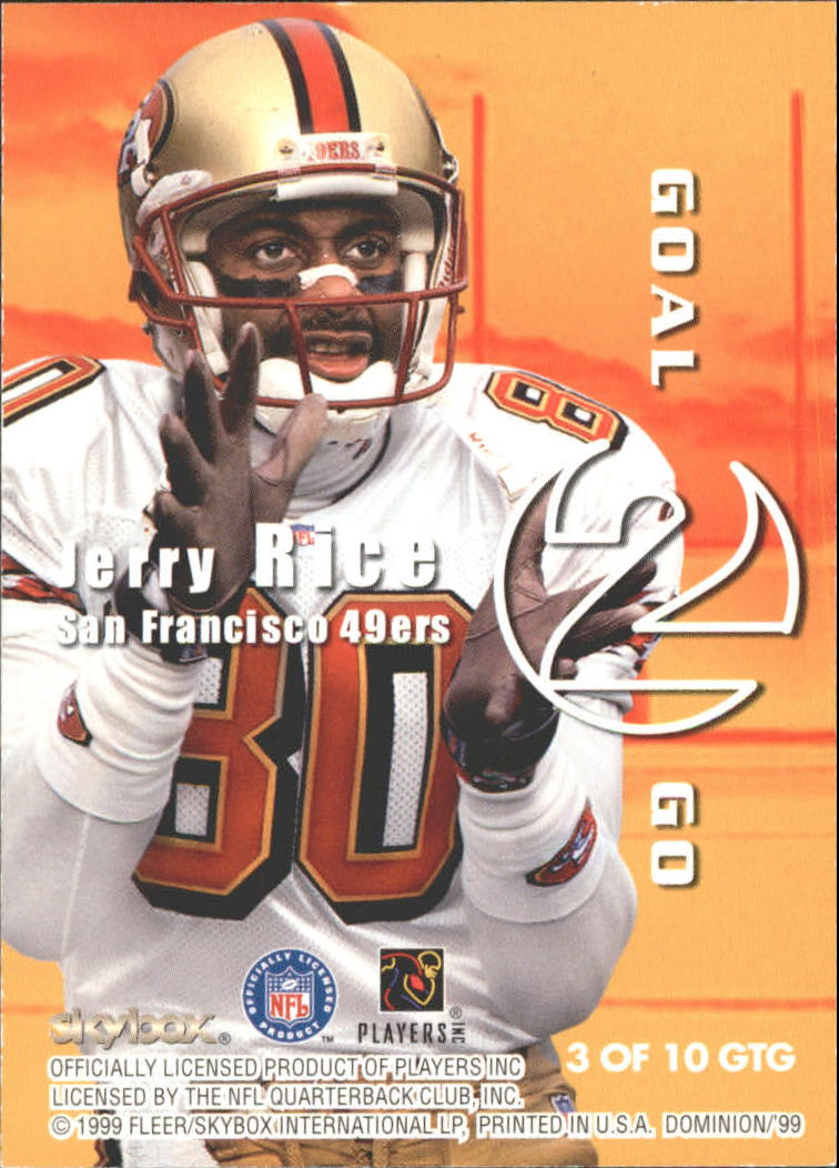 1999 SkyBox Dominion Goal 2 Go #3 Randy Moss/Jerry Rice back image