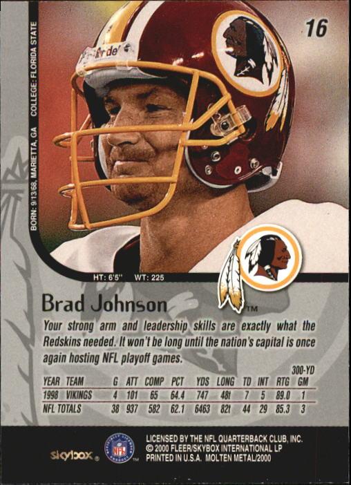1999 SkyBox Molten Metal #16 Brad Johnson back image