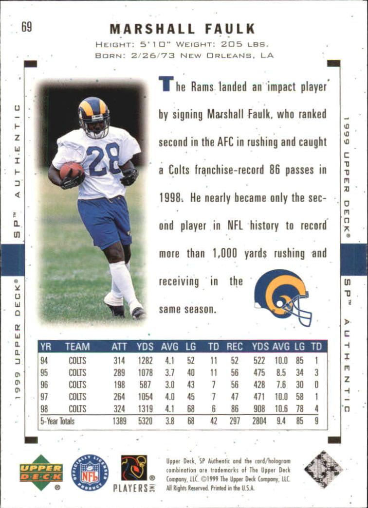 1999 SP Authentic #69 Marshall Faulk back image