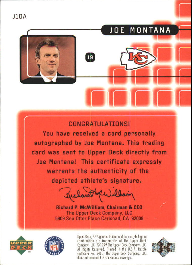 1999 SP Signature Montana Signature Performances #J10A Joe Montana back image