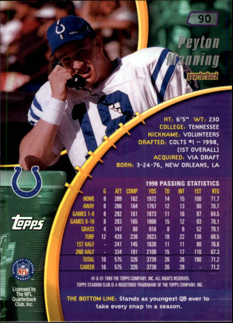 1999 Stadium Club #90 Peyton Manning back image