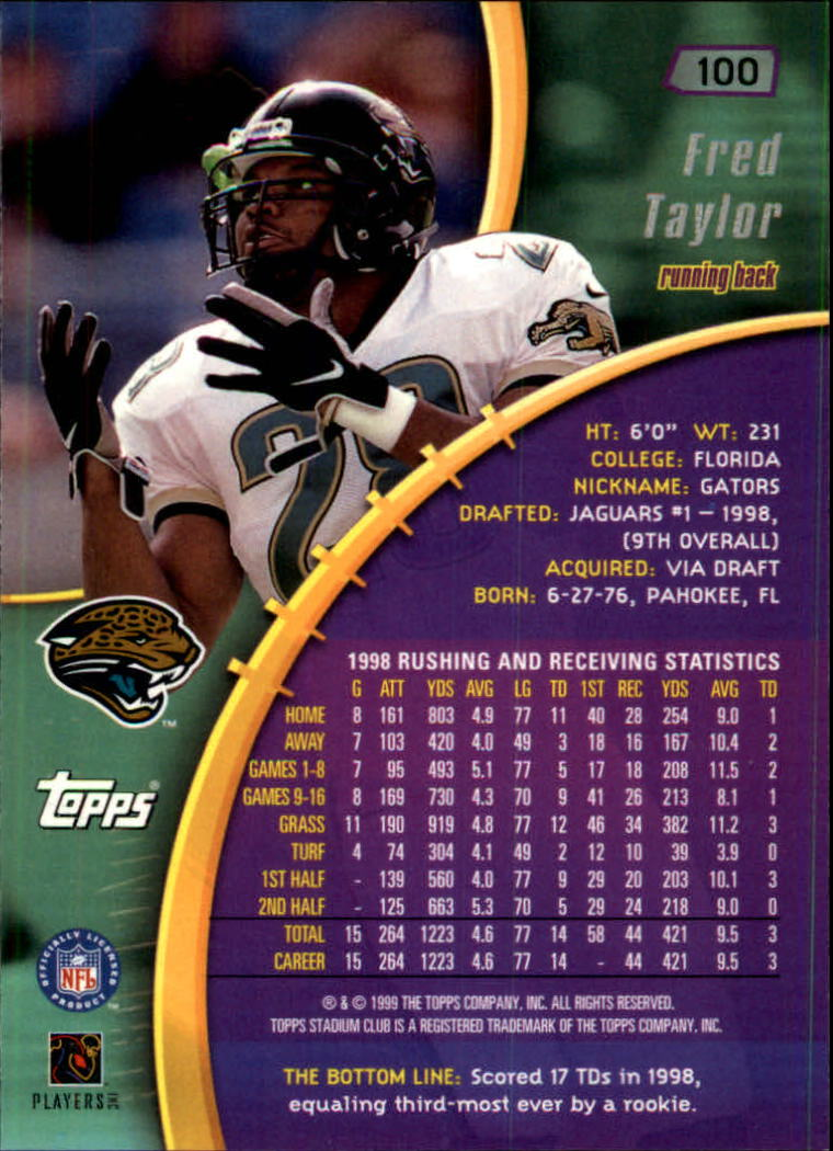 1999 Stadium Club #100 Fred Taylor back image