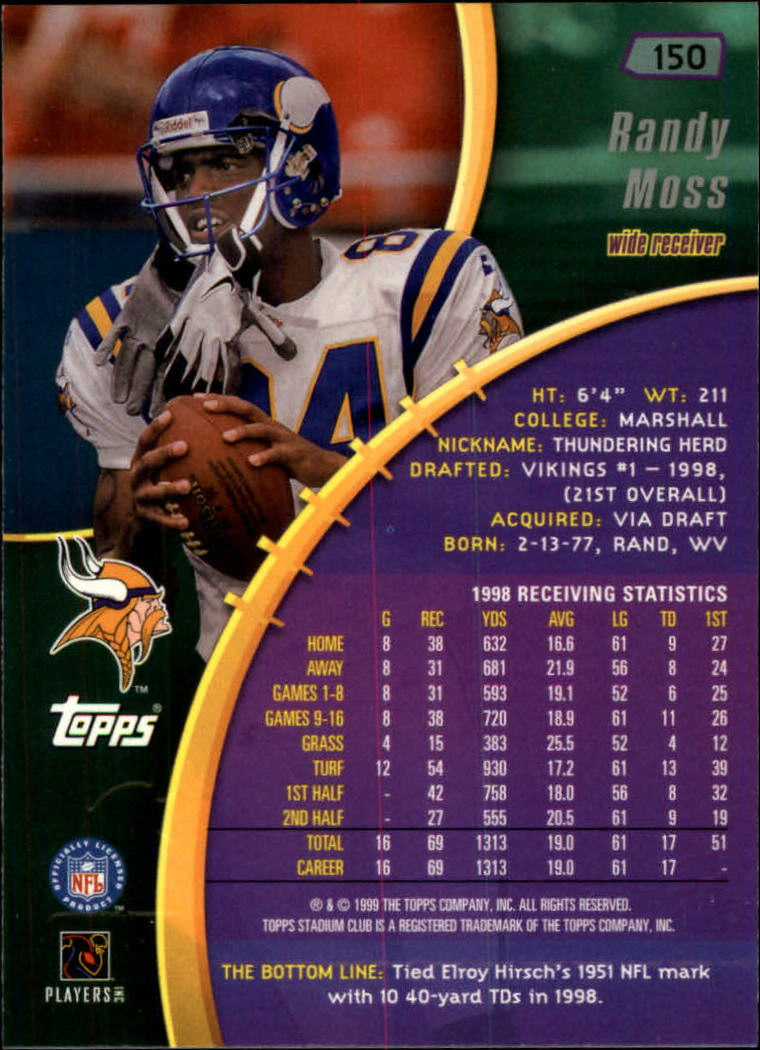 1999 Stadium Club #150 Randy Moss back image
