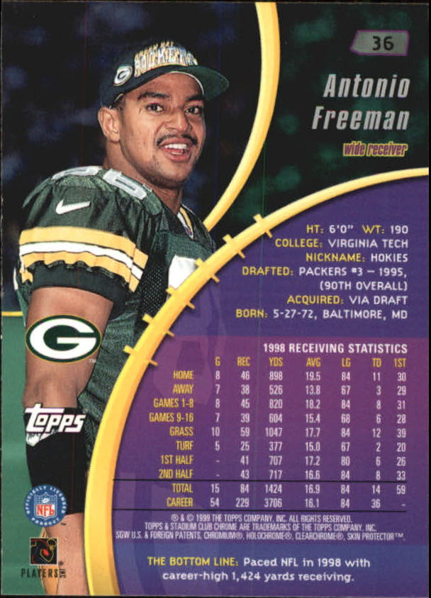 1999 Stadium Club Chrome #36 Antonio Freeman back image