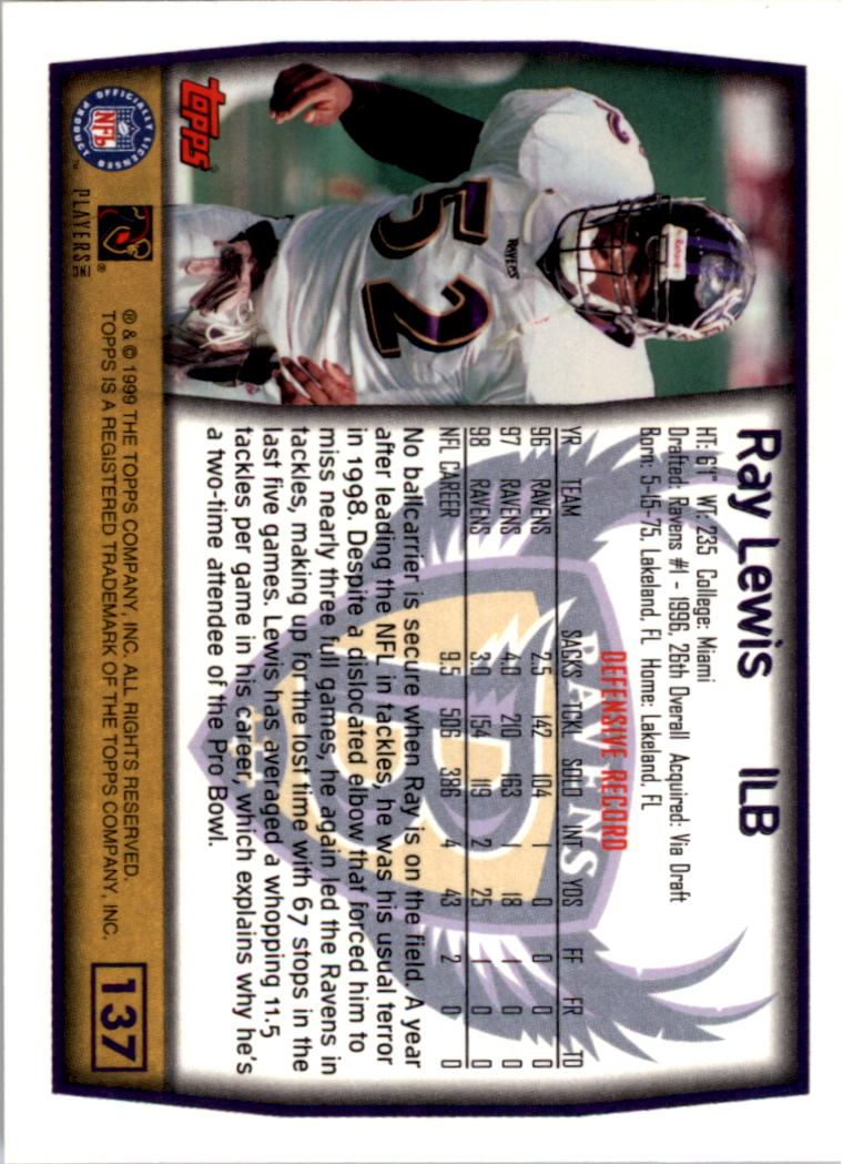 1999 Topps Collection #137 Ray Lewis back image