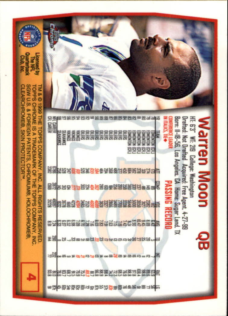 1999 Topps Chrome #4 Warren Moon back image