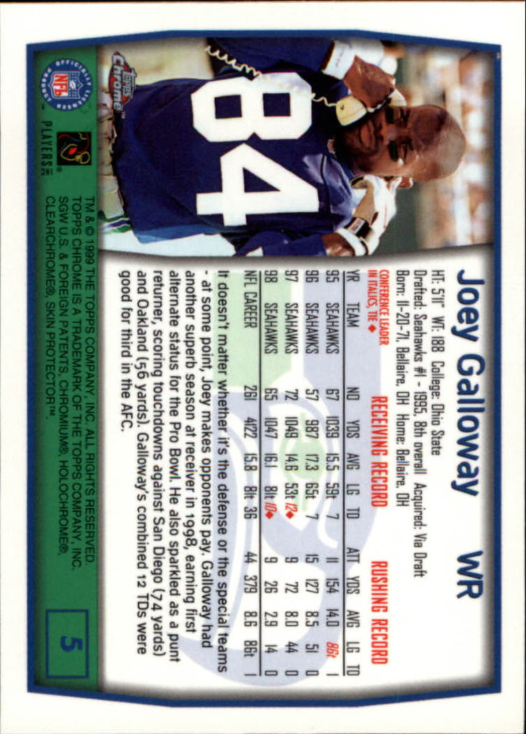 1999 Topps Chrome #5 Joey Galloway back image