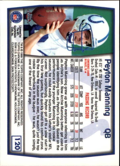 1999 Topps Chrome #120 Peyton Manning back image