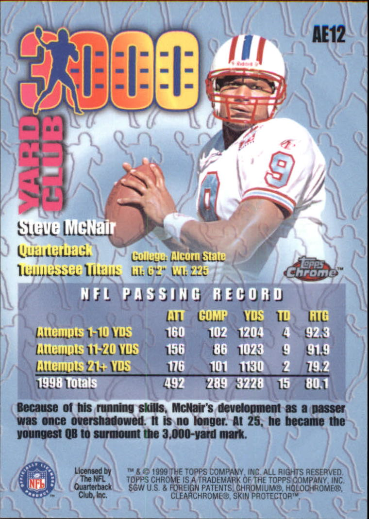 1999 Topps Chrome All-Etch #AE12 Steve McNair back image