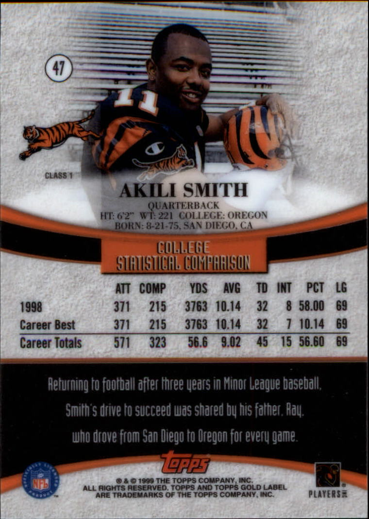 1999 Topps Gold Label Class 1 #47 Akili Smith RC back image