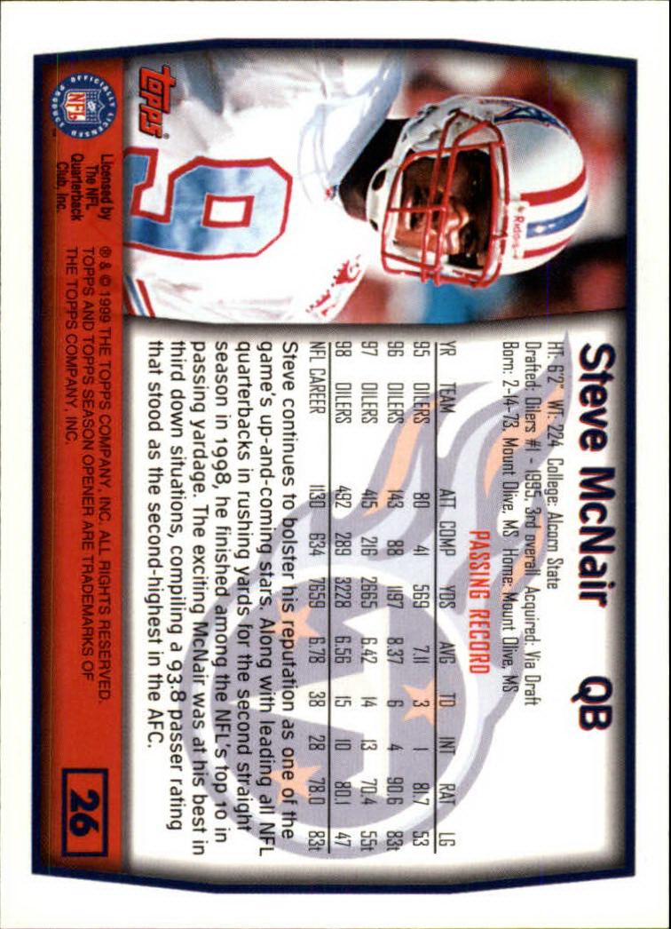 1999 Topps Season Opener #26 Steve McNair back image