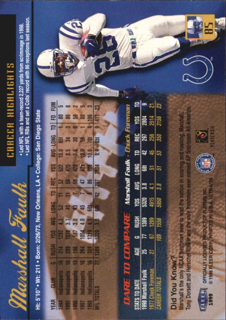1999 Ultra #85 Marshall Faulk back image