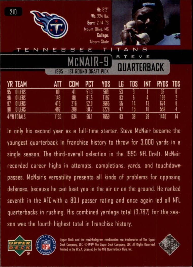 1999 Upper Deck #210 Steve McNair back image