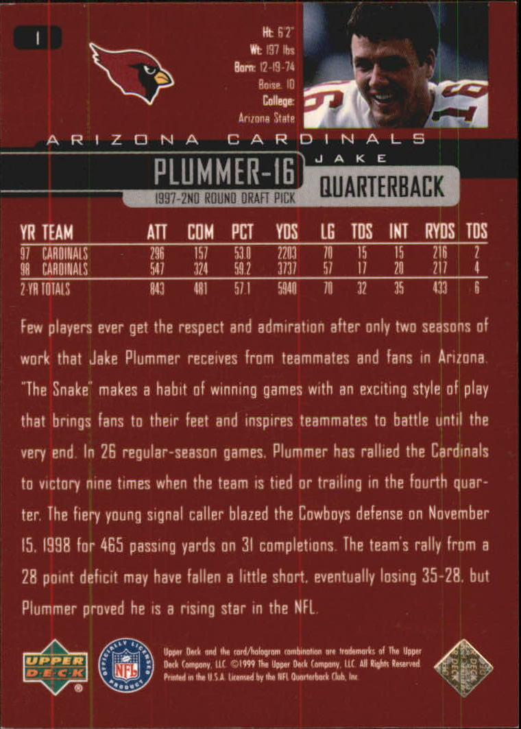 1999 Upper Deck Exclusives 100 #1 Jake Plummer back image